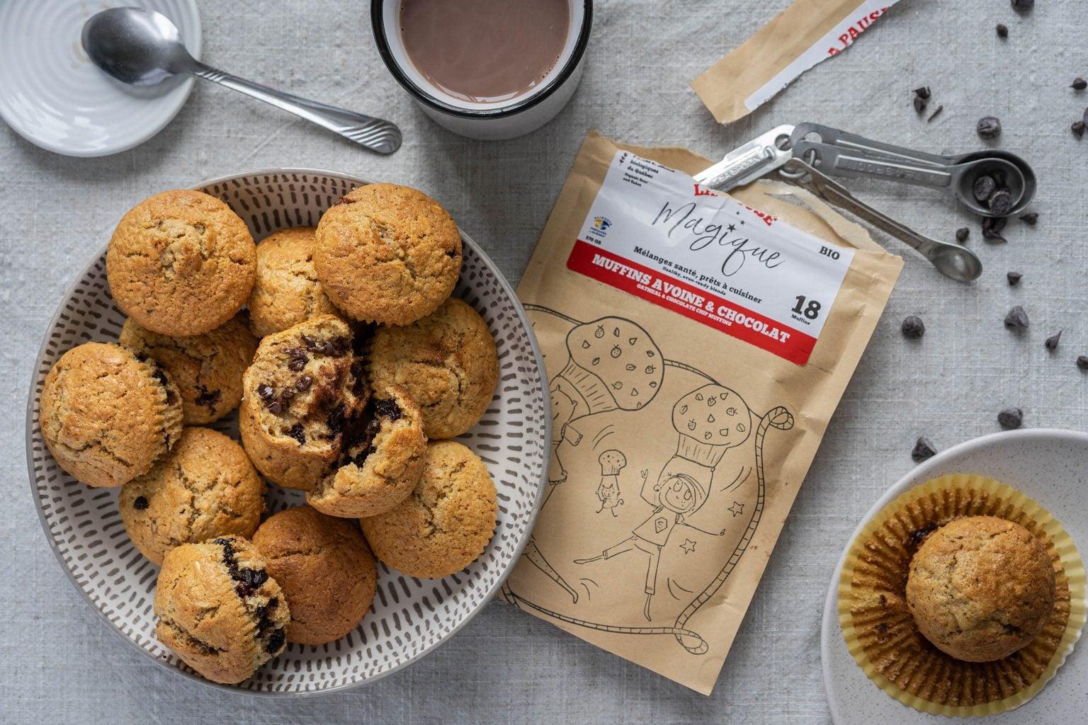 Muffins avoine et chocolat préparés - La Pause Magique